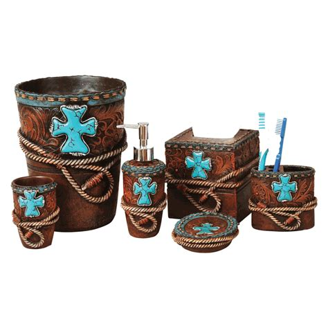 leather bathroom accessories tooled leather turquoise cross bath accessories