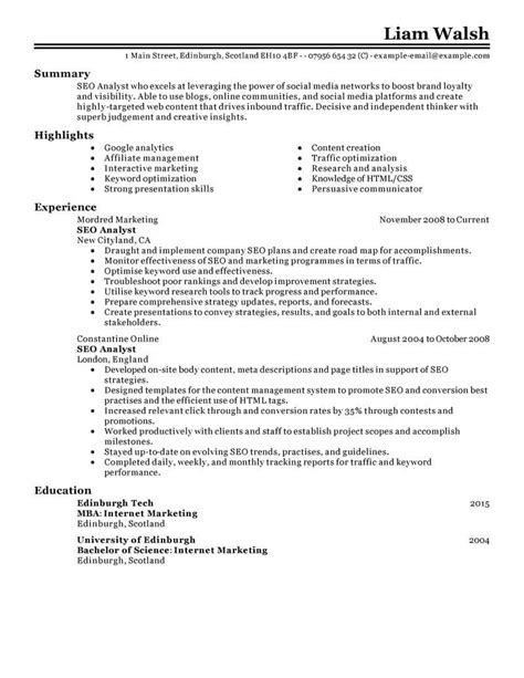 Seo Resume by Best Seo Resume Exle Livecareer