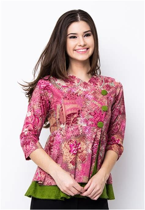 Dress Atasan Blouse Baju Batik Wanita Murah Bruneta Hlbt Dress blouse batik modis lace henley blouse
