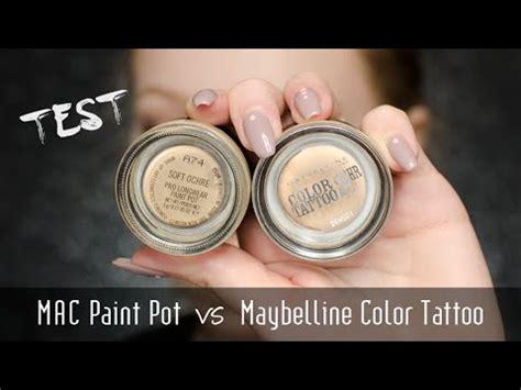 test na żywo mac paint pot vs maybelline color tattoo