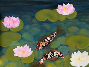 Koi Fish And Lotus Flower Two Koi Fish And Lotus Flowers Painting By Oksana Semenchenko