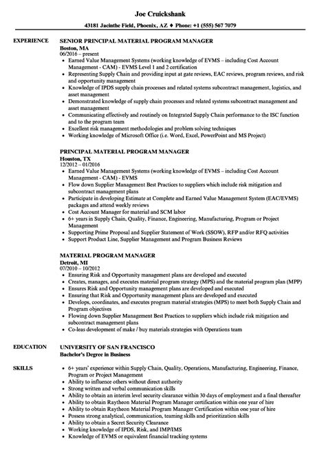 material program manager resume sles velvet