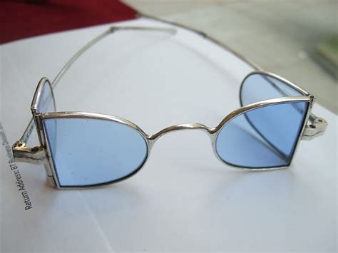 lightly tinted non prescription glasses georgian solid silver sun glasses spectacles blue tinted