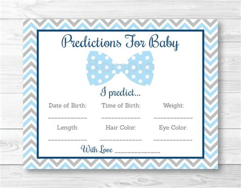 Team Prediction Card Template by Bow Tie Baby Predictions Card Baby Shower Chevron