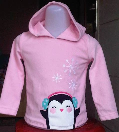 sweater anak perempuan fleece jumping beans pinguin pink