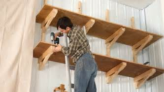 How To Build Wall Bookshelves by Up High Garage Shelves Youtube