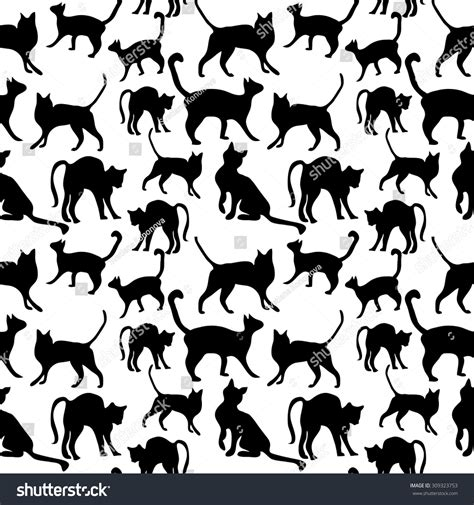 seamless pattern animals seamless cat pattern animals textile collection stock