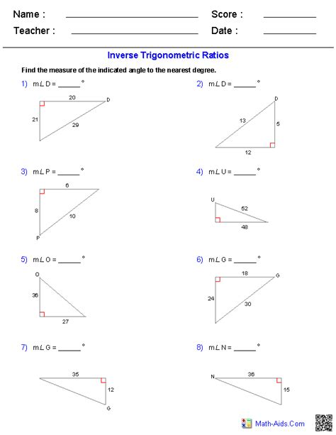 Trigonometry Ratios Worksheet by Geometry Worksheets Trigonometry Worksheets