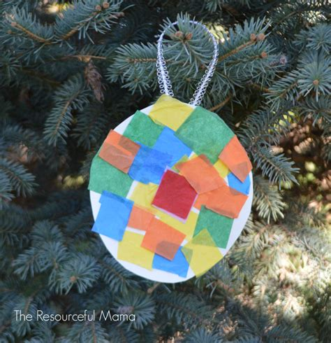 Tissue Paper Kid Made Christmas Ornament   The Resourceful Mama