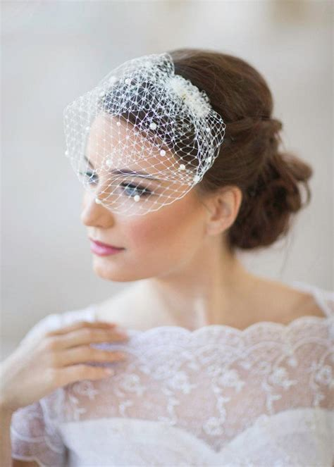 wedding hair with small veil mini birdcage veil with pearls small bridal veil mini