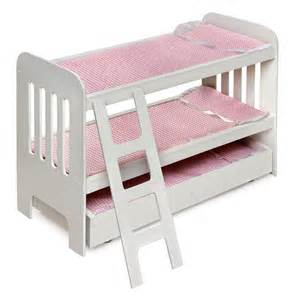 Baby Doll Bunk Bed Badger Basket Pink Gingham Princess Doll Bunk Bed With Wheeled Trundle Baby Doll Furniture At