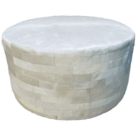 circle ottomans white round cowhide ottoman 36 inch