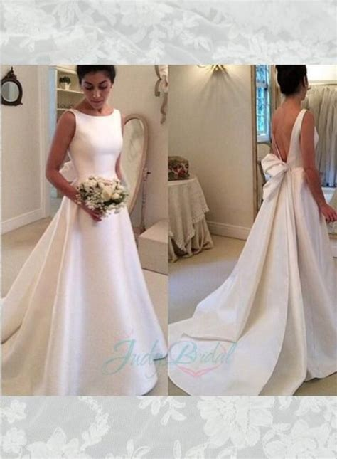 Plain Wedding Dresses by Jol239 Simple Bateau Neck Plain Satin Low Back Wedding
