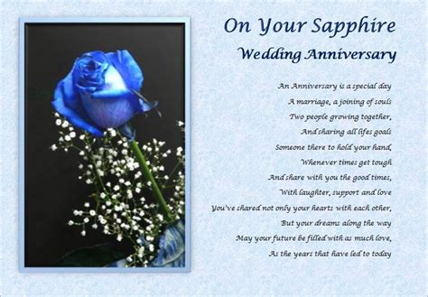 65th Wedding Anniversary Card Verses by Sapphire Wedding Anniversary Personalised Poem