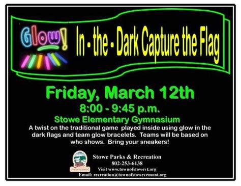 P Calendar Onchange Event Nights Glow In The Capture The Flag Stowe Vermont