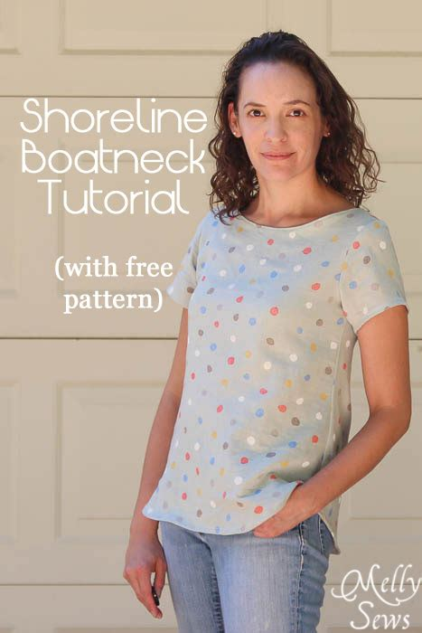 women s boat neck shirt tutorial melly sews - Boat Neck Shirt Sewing Pattern