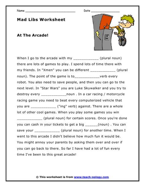Language Grammar Worksheets by Mad Libs Worksheet At The Arcade