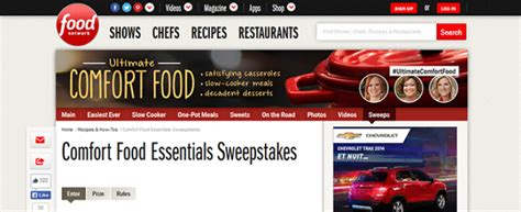 Food Sweepstakes - foodnetwork com comfortfoodsweeps comfort food essentials sweepstakes