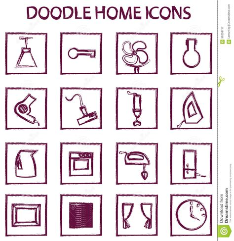 doodle home doodle home icons stock vector image 59208717