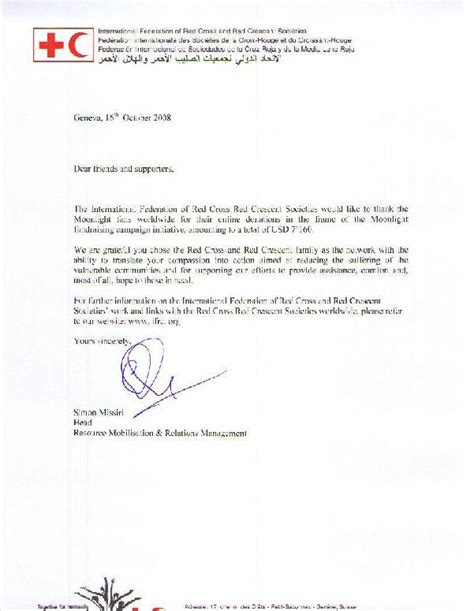 Acknowledgement Letter For In Donation The Acknowledgement Letter From The Federation Worldwide Moonlight Donation Caign