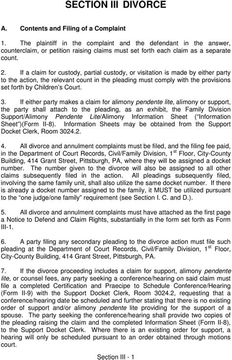 divorce section section iii divorce a contents and filing of a complaint