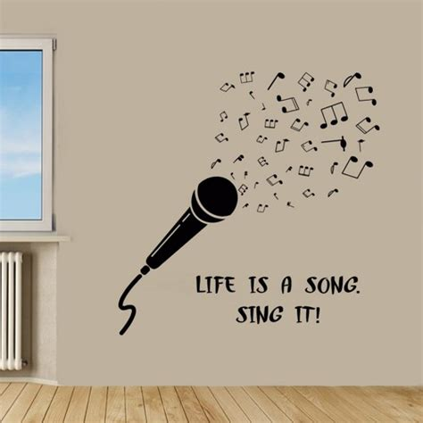 Nursery Quote Wall Stickers microphone wall decals music wall quotes life is a song