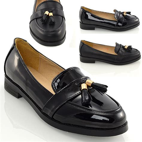 womens loafers flat black tassel casual work school