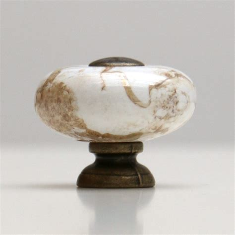 12pcs marbled ceramic knob with antique brass base and
