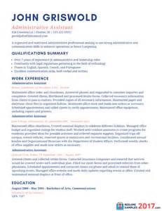 Resume Templates For Assistant by Sle Resume For Administrative Assistant 2016 What To