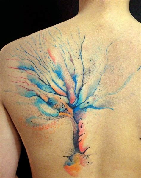 cute watercolor tree tattoo on whole back tattooimages biz