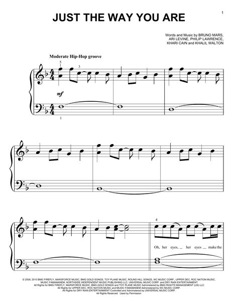 Just The Way You Are Sheet Music | Bruno Mars | Big Note Piano