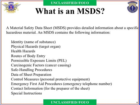 what is material safety data sheet msds definition and
