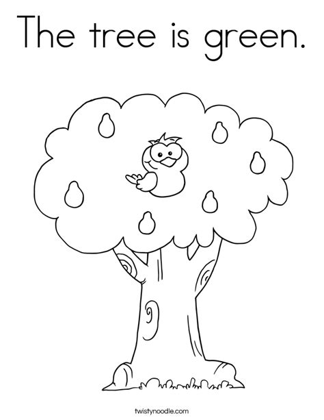 green tree coloring page the tree is green coloring page twisty noodle