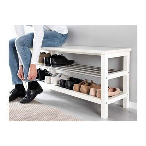 shoe storage bench white tjusig bench with shoe storage white 108x50 cm ikea