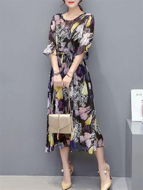 Dear Fashion Mias Robe by Summer Chiffon Hollow Out Printed Maxi Dress Fashionmia