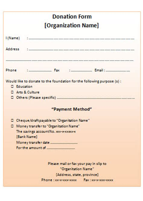 non profit donation receipt form template non profit donation receipt blank template free word and