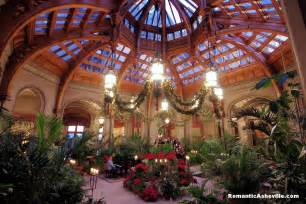 Adorned with poinsettias kissing balls and garland the winter garden