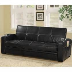 faux leather sleeper sofa coaster faux leather sofa bed in black 300132