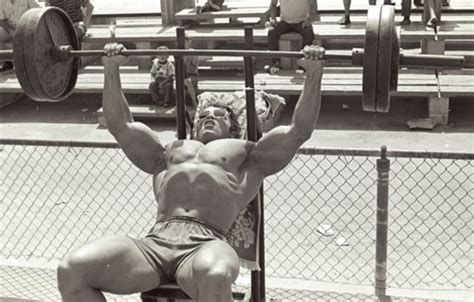 schwarzenegger bench press arnold schwarzenegger s chest routine mr olympia chest