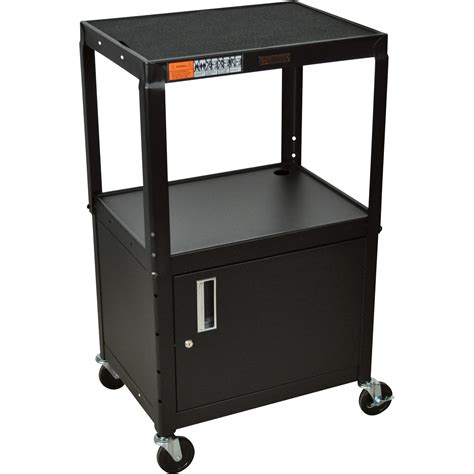 luxor cart with locking cabinet luxor utility cart with locking cabinet 3 shelf black