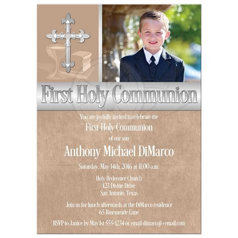 Photo Invitations by Holy Communion Invitation Photo Template Brown