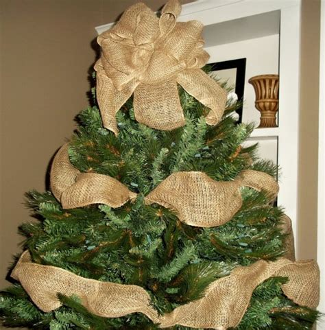 burlap christmas tree topper bow with garland ribbon