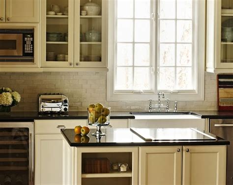 Ivory Kitchen Cabinets Polished Absolute Black Granite