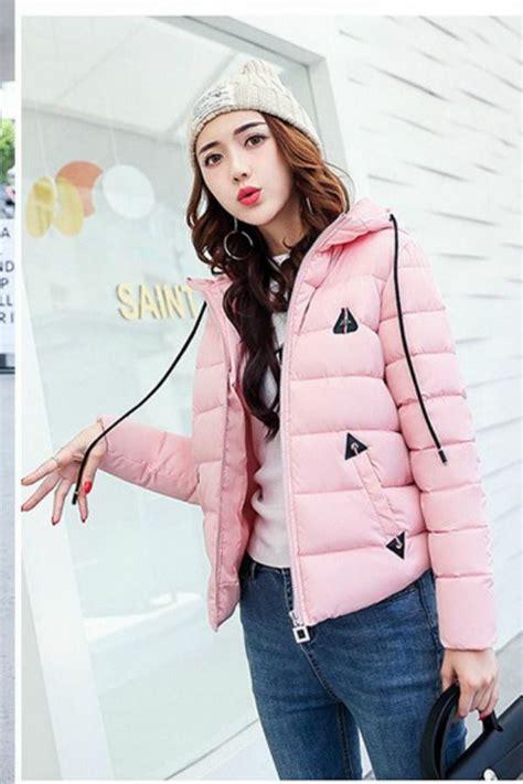 Bulu Korea Pink pink hooded downcoat jaket bulu wanita jyb17612pink