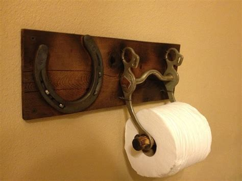 shoe bathroom decor toilet paper holder with an old horse bit and horse shoe