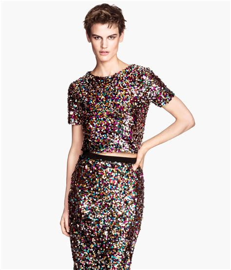 Top H M h m sequin blouse lace henley blouse