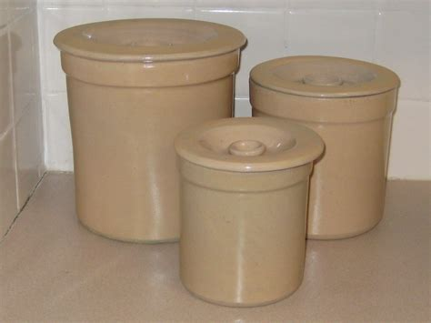 vintage style homestead stoneware airtight kitchen storage kitchen crock canisters 3 crock canister set wing