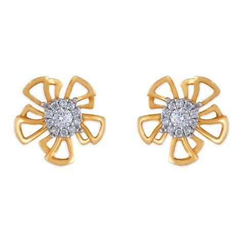 flower design ear studs buy tanishq 18 kt gold platinum stud earring diamond
