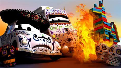 film coco kartun pinata sedang kebakaran pada dia de los muertos troy si