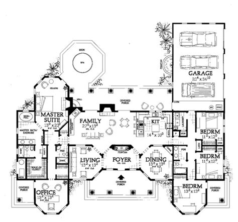 one story mediterranean house floor plans mediterranean